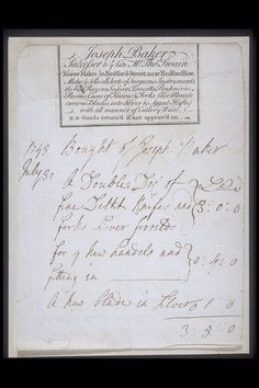 Copper-engraved billhead with handwritten invoice issued by the razor maker and cutler Joseph Baker located at Bedford Street. The billhead lists the range of items manufactured and supplied by Baker including surgeon's instruments, razors, scissors, knives and forks as notes that he also mounts handles on knives in silver and agate. The handwritten invoice dated July 1749 refers to the supply of knives and forks and the mounting of handles.