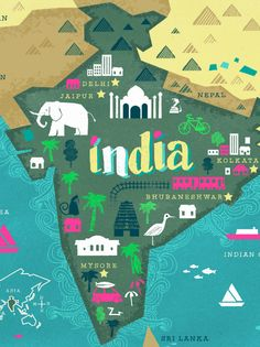 Take a trip to India via Tea Collection's new spring/summer collection for kids, featuring vibrant patterns we love. You could win a real trip to India too! India Map, India Travel, Country Maps, Map Design, City Maps, Map Art, Travel Posters, Illustrations, Places To Travel