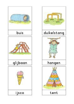 Woordkaarten Bas 'De speeltuin' 1 Dutch Language, Exercise For Kids, Primary School, Speech Therapy, Kids Learning, Camping, Lettering, Comics, Children