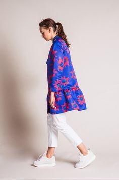 EDIT The Brand SS16 Collection - Colbalt Flower Print Satin Peplum Bomber // White Boyfriend Jeans