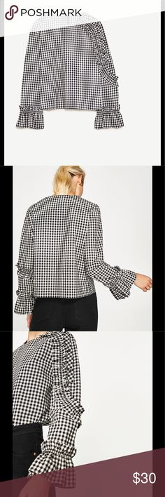 Zara Checked Top with frilled sleeves Soon on sale Zara Checked Top with frilled sleeves. Pre-Loved Item with signs of wear in good condition. Zara Tops