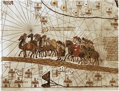 The caravan of Marco Polo, Catalan Atlas, 1375. Marco Polo brought back to Europe many new inventions and foods from is adventures and travel to the Orient. These included Ice Cream and Pasta, which are of Chinese origin.