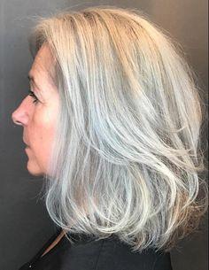 60 Gorgeous Gray Hair Styles - Layered Gray Lob For Older Women - Grey Blonde Hair, Long Gray Hair, Platinum Blonde Hair, Lilac Hair, Pastel Hair, Silver Grey Hair Gray Hairstyles, Green Hair, Blue Hair, Grey Hair Styles For Women