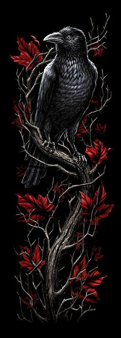 Gothic art tattoo halloween 47 ideas for 2019 Raabe Tattoo, Rosen Tattoo Frau, Graffiti Kunst, Raven Art, Arte Obscura, Crows Ravens, Body Art Tattoos, Fox Tattoos, Phoenix Tattoos