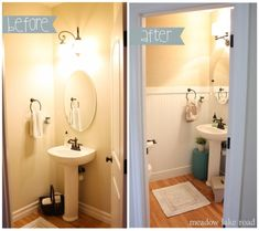 Powder room makeover with beadboard and grasscloth wallpaper - www.meadowlakeroad.com by christa