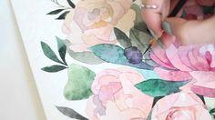 Watercolor flowers. Process