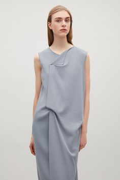 COS image 3 of Draped knit dress in Slate Blue