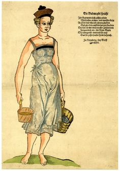 Broadside of a Nuremberg bath attendant; with a hand-coloured woodcut of a lightly dressed female holding two pails of water, and with letterpress verses in German. (Nuremberg, Drechsel: [c.1585])