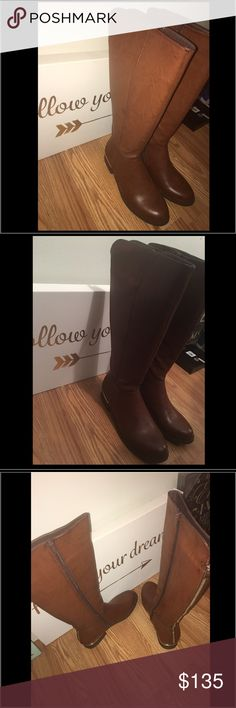 Brown Steve Madden Boots Brown knee high boots with gold trim on heel . Faux gold zipper in back. Zipper on inside of boots. Comes right above the knee. Super cute!!! Steve Madden Shoes Over the Knee Boots