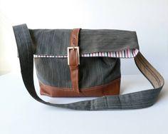 Grey Shoulderbag Handbag Tote Upcycled Men's Suit by RAILOclothing