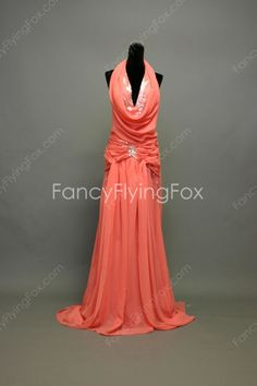 Watermelon Chiffon Top Halter Neckline A-line Full Length Prom Dresses With Ruched Bodice  $175.00