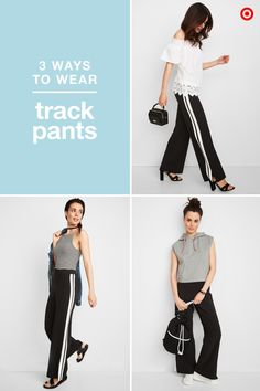 A simple pair of track pants can be the ultimate wardrobe multitasker, as long as you know how to style them. For a dressed-up look, wear them with an off-the-shoulder top and block heels, letting the hem fall at the middle of your foot. Or, you can always lean into their athletic side and wear them with a fitted tank top and chunky sandals for a street-style inspired look. And, of course, they're still a comfy gym option, too, especially topped off with a cropped hoodie and white sneakers.