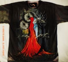 "T-shirt ""in flames II"" malowany ręcznie © Katarzyna Urbanek , All rights reserved https://www.facebook.com/lunarisart"
