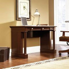 """Writing Computer Desk - Select Cherry Finish by Sauder. $169.98. Features Large drawer/shelf features flip-down panel for keyboard/mouse or laptop. Small drawer with patented T-slot assembly system features metal runners and safety stops. Cord management. Select Cherry finish.     Dimensions W:46 3/4"""" (118.9cm) D:23 1/2"""" (59.6cm) H:30 1/4"""" (76.8cm). Comes ready to assemble. Please contact Target Decor and More for free color sample."""