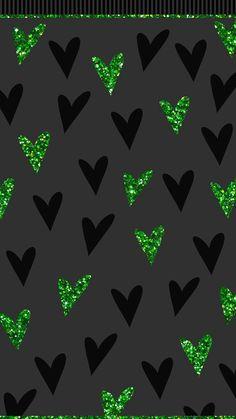 Glitter green hearts.