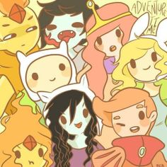 Adventure time - Fiona, Finn, Marceline, Marshall Lee, Princess Bubblegum, Prince Bubblegum, Flame Princess and Flame prince