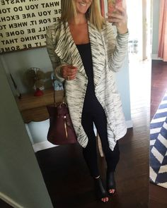 Drape front cardigan with black pants and wedges