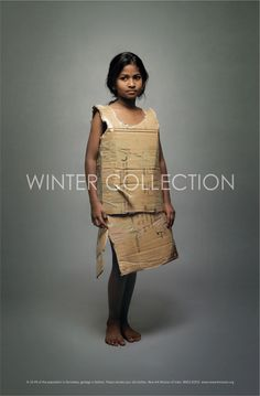"""Advertising inspiration.   The caption at the bottom reads:  """"To 33.4% of the population in Karnataka, garbage is fashion.  Please donate your old clothes.   New Ark Mission of India   www.newarkmission.org """""""