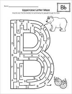 Uppercase Letter Maze Activity Set {BW} by My Teaching Station Maze Worksheet, Abc Worksheets, Kindergarten Worksheets, Preschool Letters, Letter Activities, Writing Activities, Learning The Alphabet, Learning To Write, Alphabet Letter Templates