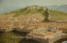Reconstruction of Sardis, regional capital of Lydia in today's western Turkey in the 3rd century AD.  One of the Seven Churches of the Book of Revelations was located here.  The Sardis Bath house in the foreground is one of the largest that partially survives from the Roman period.  More info on www.Archaeologyillustrated.com Biblical illustrations by Balage Balogh