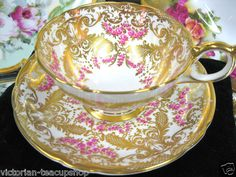 stunning pink and gold tea cup