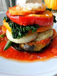 This is a savory version of a napoleon, layers and layers of your favorite vegetables all perched on top of a sturdy portobello base. These pretty bundles are the perfect side dish to any protein you make or a straight up main course served together with a salad.