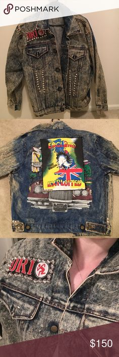 Vintage Punk Rock Denim Jacket This is a rare gem! This vintage denim jacket is so punk. The original denim jacket was painted and then an Exploited back patch was hand sewn on top. Jacket has lots of nice punk rock embellishments. This is a vintage piece that you will not be able to find at stores! Men's S, fits women M/L. Jackets & Coats Jean Jackets