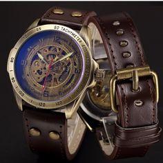 Antique Bronze Automatic Skeleton Mechanical Watch Men 2016 Steampunk Retro Leather Analog Men's Wrist Watches Horloges Mannen. Model Number: Automatic Skeleton Mechanical Watch P368. Item Type: Mechanical Wristwatches.   eBay!