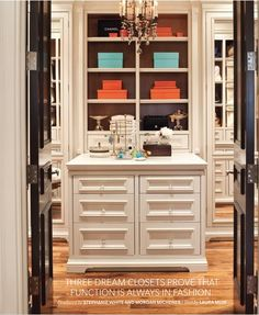 Pretty egg shell dressing room w/ lucite drawer pulls; double entry doors; House & Home