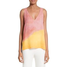 Women's Rosetta Getty Watercolor Silk Georgette Tank ($675) ❤ liked on Polyvore featuring tops, multi, abstract top, rosetta getty, drapey tank tops, drapey tops and drapey tank