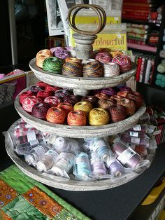 Lovely idea for storing and displaying tatting threads