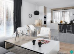 white & grey living room www.nanadesign.pl