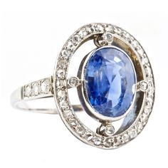 Sapphire Diamond Gold Ring from jackweirandsons on Ruby Lane