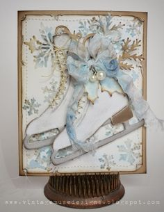 Card by Bobbi Smith  (010314) [(dies) Sizzix Tim Holtz Alterations Bigz Ice Skates and Sizzlits Decorative Strip Festive Greenery;  (e/f) Sizzix Tim Holtz Texture Fades Snow Flurries; (stamps) Stampers Anonymous Tim Holtz Mini Holidays 4]