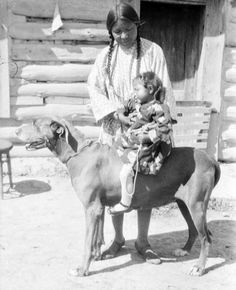 Jean Poitra and her daughter - Northern Cheyenne - circa 1925