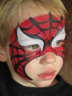 spiderman-facepaint-by-cynnamon.jpg (720×960) I'm not too fond of spiderman, but this is a nice way of doing it (no white under the eyes)