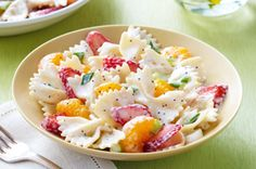 Strawberry-Orange Pasta Salad from Kraft.  I used a little bit less of the dressing-mayo sauce it called for, and it was perfect.