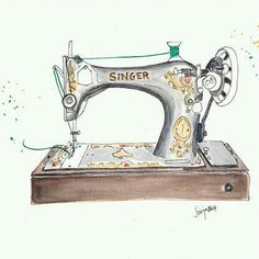 Vintage Singer Sewing Machine Art Print by Artisania - X-Small Sewing Art, Sewing Rooms, Sewing Crafts, Sewing Spaces, Machine Logo, Vintage Sewing Machines, Sewing Patterns For Kids, Jolie Photo, Machine Design