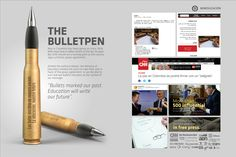 Ministry of National Education Colombia: The Bulletpen - Adeevee Advertising Awards, Clever Advertising, Ads, Sales Kit, Bullet Pen, Direct Marketing, Marketing Ideas, Ministry Of Education, Concept Board