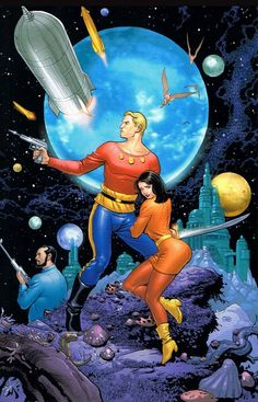Flash Gordon, Retro futurism back to the future tomorrow tomorrowland space planet age sci-fi pulp flying train airship steampunk dieselpunk alien aliens martian martians BEMs BEM's raygun