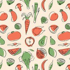 Repeating pattern of vegetables; line art printed wit off-register color Vegetable Design, Vegetable Prints, Food Patterns, Textile Patterns, Vegetable Illustration, Posca Art, Fruit Pattern, Best Fruits, Pattern Illustration