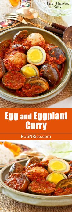 This Egg and Eggplant Curry is a spicy and tangy curry that is sure to whet your appetite. Very delicious and appetizing served with rice. | RotiNRice.com
