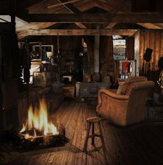 the rustic cabin interior..