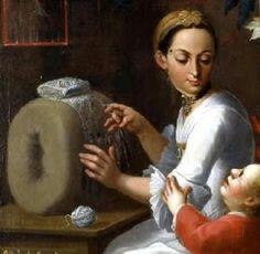 Con nuestras manos: Encajeras en el arte Cuadro de mestizaje de la serie mexicana Autor: José Joaquín Magón (Puebla 1751-1800) Fragmento