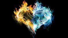 Dragon Hearts   ... Heart Wallpaper - Download FREE Widescreen HD Golden & Blue Fire Heart