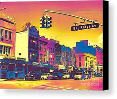 Bay Ridge Pop Art Canvas Print by Onedayoneimage Photography.    bay ridge, brooklyn, street photography, neon, pop art, sign, neighborhood, urban, bright colors, colorful, street sign, architecture, buildings, retro, retro art, pink, yellow, blue, bright, cool, purple, hot pink, magenta, urban art, popart, fuchsia, colorful, psychedelic, vibrant, canvas art, wall art, prints, decor, urban decor, office decor,
