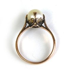 Antique Art Nouveau Pearl Ring Cathedral Setting 10 Karat Rose Gold Size 6.75 circa 1910