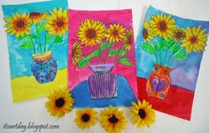 """Welcome Spring. """"I start my lesson with my favorite book, Camille and the Sunflowers. 2nd Grade Art, Grade 2, School Art Projects, Welcome Spring, Teaching Art, Teaching Ideas, Spring Art, Art Lessons Elementary, Artists"""
