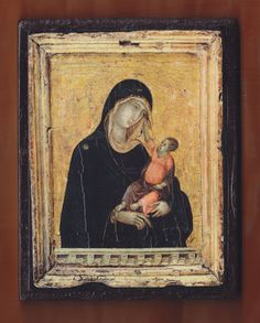 Madonna and Child, Duccio di Buoninsegna. This work of art was painted by one of the most influential artists of the late 13th and early 14th century, Duccio di Buoninsegna. This iconic image of Madonna and Child, seen throughout the history of western art, holds significant value in terms of stylistic innovations of religious subject matter that would continue to evolve for centuries.10x13x1.5 cm 3.9x5.1x0.6 inches FREE SHIPPING.