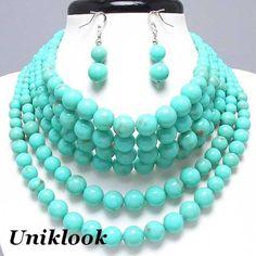Bold Turquoise Aqua Faux Pearl Collar Choker fashion Jewelry Necklace Set
